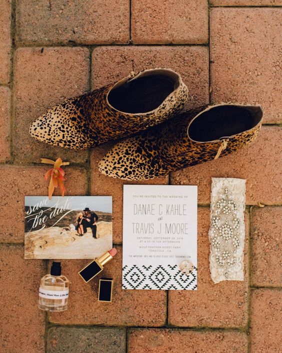 catchy wedding stationery with personal pics and leopard print wedding booties for a bold bridal look