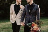 08 gorgeous printed blazers – a dark floral one and an abstract tan one, black pants, black moccasins and shirts