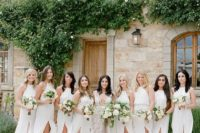 08 minimalist white halter neckline maxi bridesmaid dresses with front slits