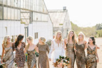 09 bridesmaids in mismatching leopard print dresses of various looks are super bold and unusual