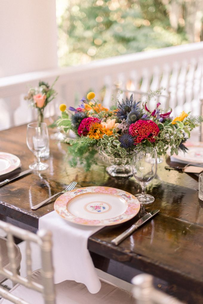 Floral plates finished off the tablescape and made it more chic and refined