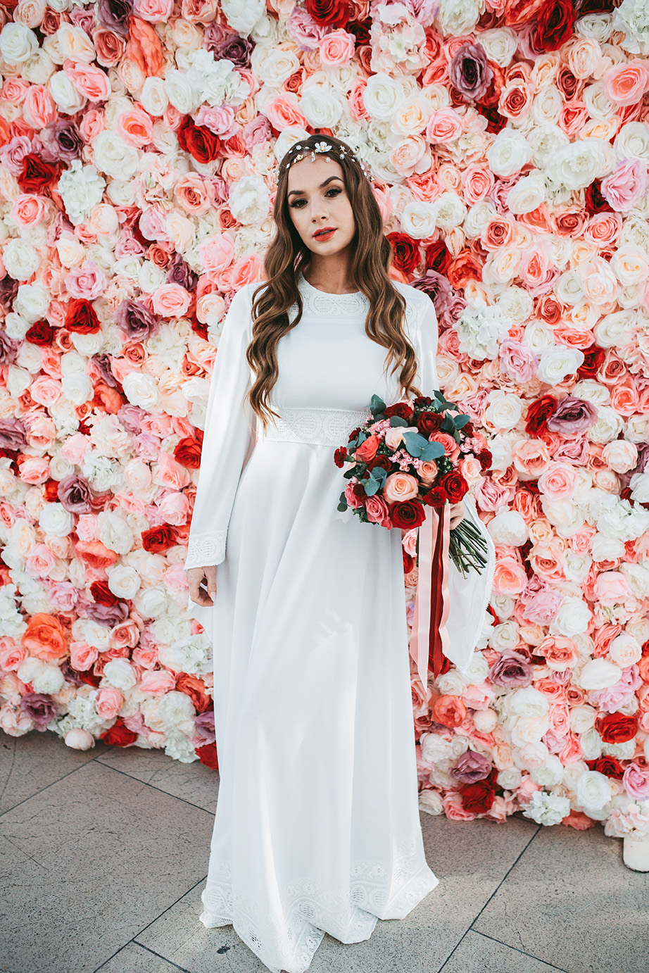 One more wedding dress was a folksy boho one, with a high neckline and long sleeves