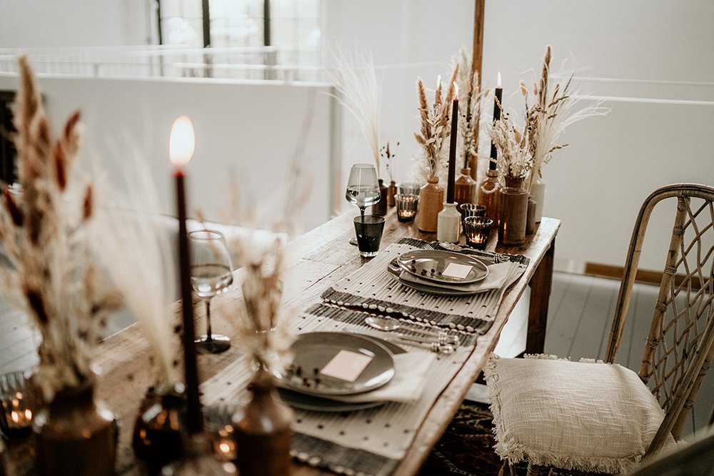 The color scheme here continued the colors of the wedding itself    earthy and soothing ones