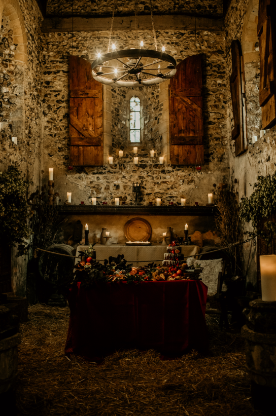 The wedding reception was dark and moody