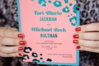 10 a bright pink, turquoise, teal wedding invitation with a leopard print is a fun and cute idea