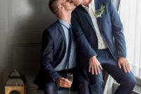 10 matching modern navy and midnight blue wedding suits and brown shoes for a super cohesive look