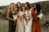 10 mismatching maxi and midi slip bridesmaid dresses with slits and without them