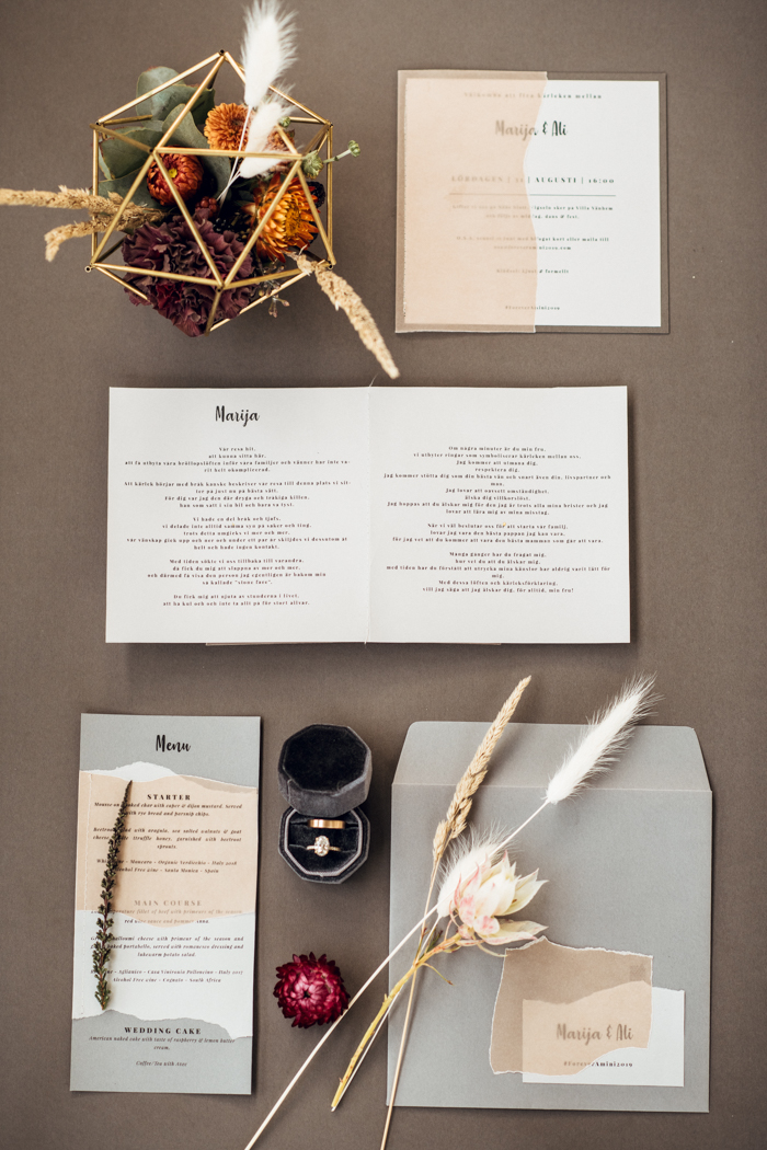 The wedding stationery was color block, in blush, grey and white