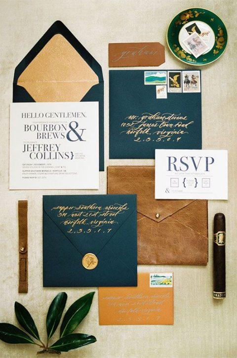 a bold wedding invitation suite in brown and teal, with seals and shiny lining for a masculine wedding