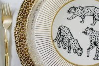 11 a chic place setting with leopard print and polka dot chargers plus fun elopard print plates
