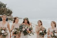 11 mismatching nude maxi bridesmaid dresses for a subtle touch of color