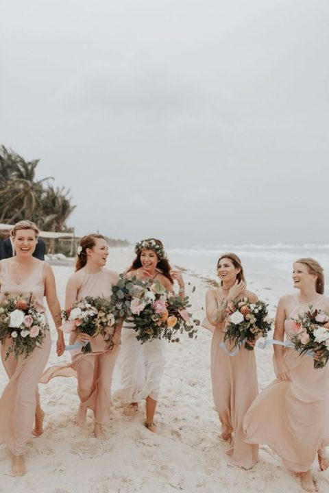 mismatching nude maxi bridesmaid dresses for a subtle touch of color