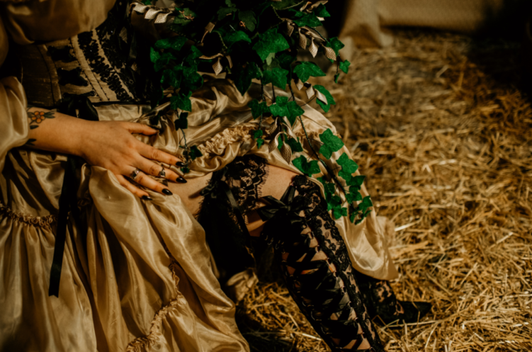 The bride was wearing black lace Victorian boots