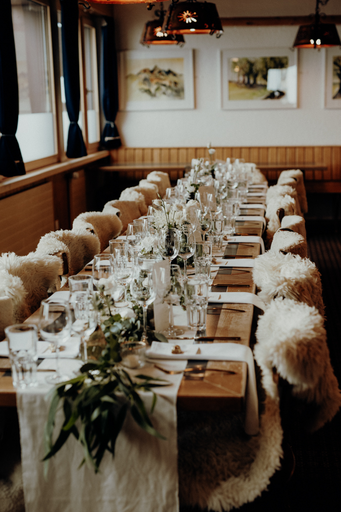 White blooms and faux fur helped to create a mountain feel