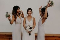 13 neutral minimalist maxi bridesmaid dresses with deep V-necklines and side slits are trendy