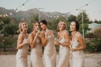 14 neutral silk slip midi bridesmaid dresses are chic, simple and will never go out of style