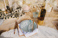 15 a unique wedding tablescape with a leopard print runner and plate is a chic and stylish idea