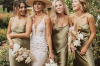15 olive green silk slip midi dresses are a nice idea for spring or fall weddings in minimalist style