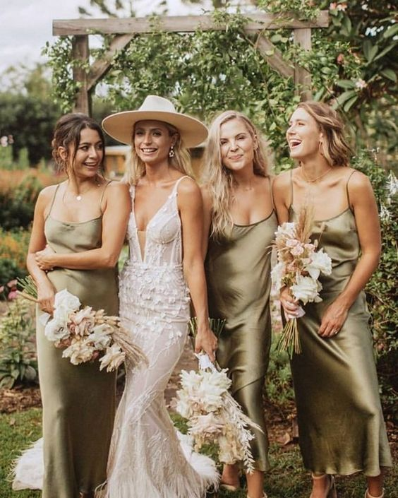 olive green silk slip midi dresses are a nice idea for spring or fall weddings in minimalist style