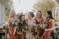 16 rust-colored midi silk slip bridesmaid dresses are a trendy idea thanks to their earthy tone