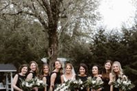 17 sleeveless black maxi bridesmaid dresses with high necklines are a chic and timeless idea for a wedding