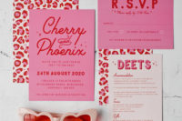 19 fun pink, red and white wedding stationery with leopard prints is a whimsical and fun idea to go for