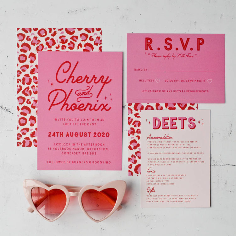 fun pink, red and white wedding stationery with leopard prints is a whimsical and fun idea to go for