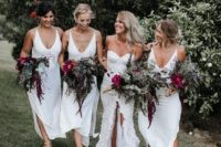 19 white midi slip bridesmaid dresses with deep necklines and side slits are a chic idea for a tropical wedding