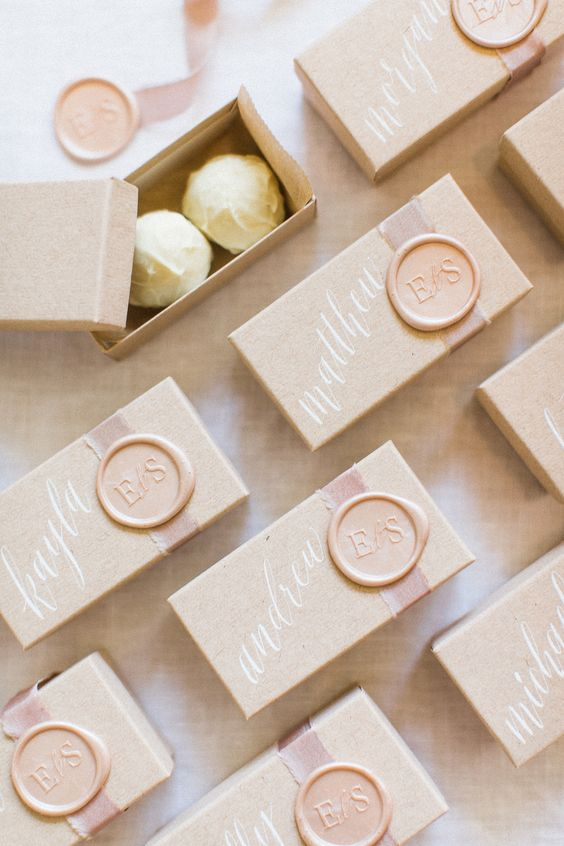 delicious white chocolate in boxes is a stylish and delicious wedding favor idea to try