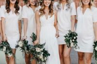 20 white minimalist mini bridesmaid dresses with V cuts and short sleeves are timeless