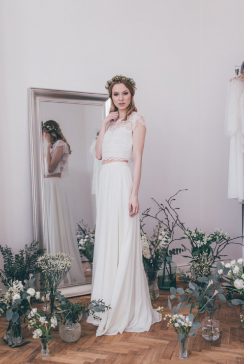 a romantic bridal separate with a lace crop top with cap sleeves and a flowy maxi skirt