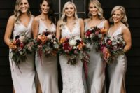 21 white silk midi high low bridesmaid dresses with V-necklines and side slits look chic