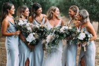 22 white slip midi bridesmaid dresses with black lace lining and front slits look very chic and sexy