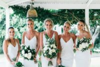 23 white slip midi bridesmaid dresses plus nude shoes are a cool and chic combo