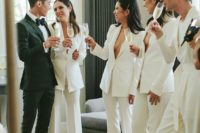 24 minimalist white pantsuits with no tops under for a sexy and non-traditional ridal party look