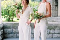 25 mismatching white bridesmaid jumpsuits with pockets and various shoes