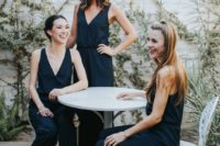 26 stylish and simple navy modern jumpsuits with deep V-necklines and black heels require only chic heels for a gorgeous look