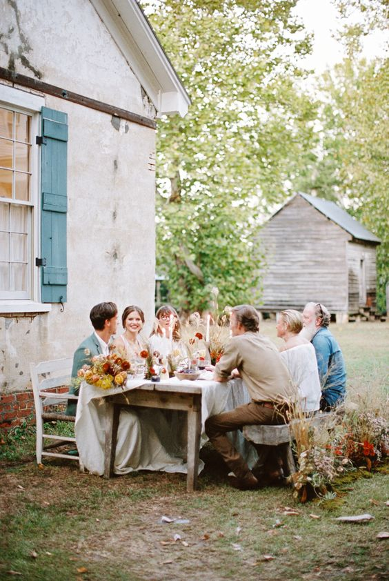 a small and cozy backyard fall wedding reception is a cool idea for those who don't feel like large and formal weddings