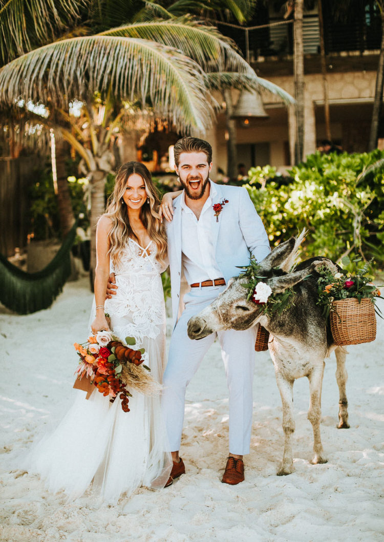This fun barefoot Tulum wedding was tying the knot of two travelers, so they wanted a destination wedding