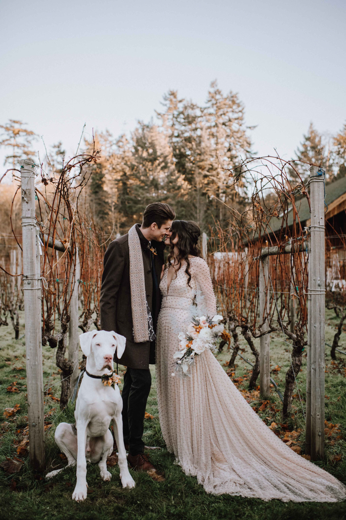 This rustic winter wedding shoot took place at a winery, it was filled with beautiful details