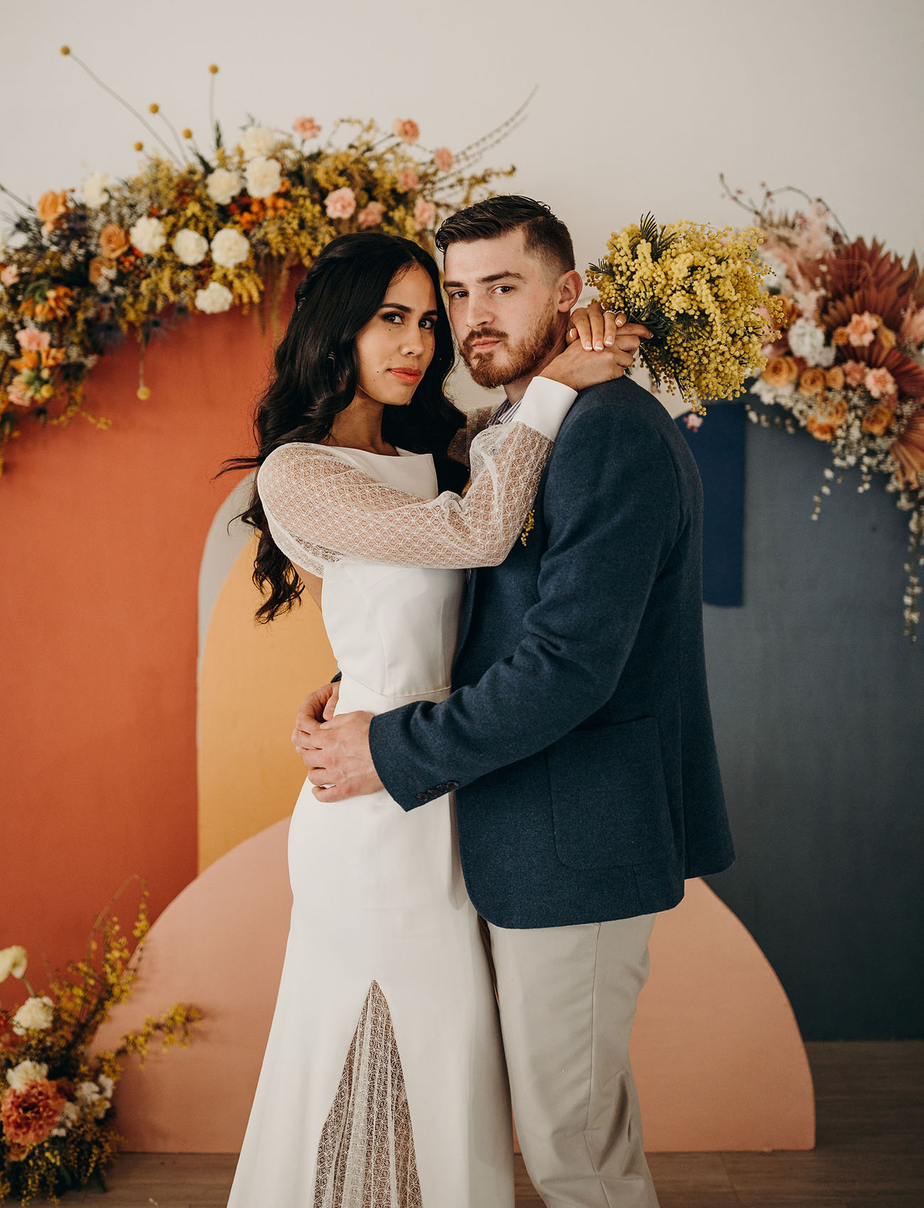 This wedding shoot was done in muted shades, with color blocking and some trendy touches
