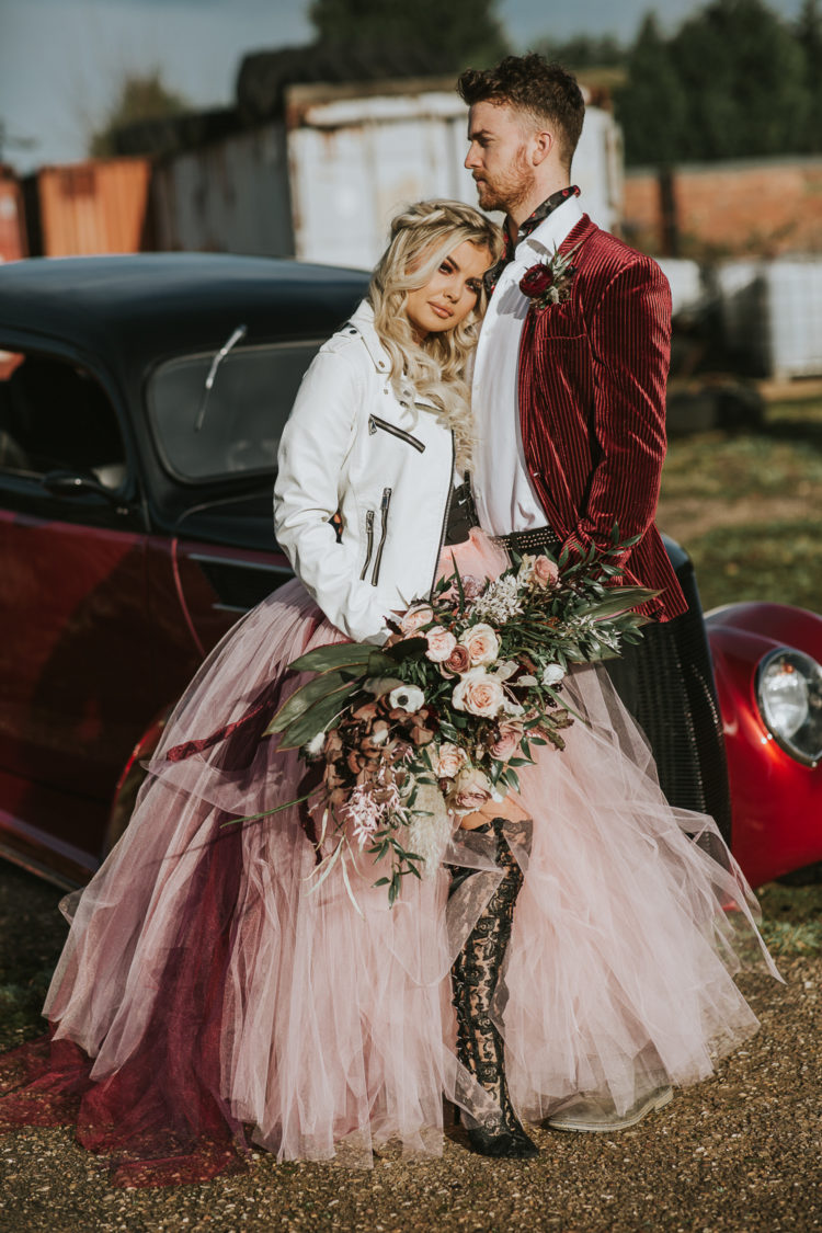 This wedding shoot was full of rock and glam, done in pink, burgundy, black and gold, with a refined touch