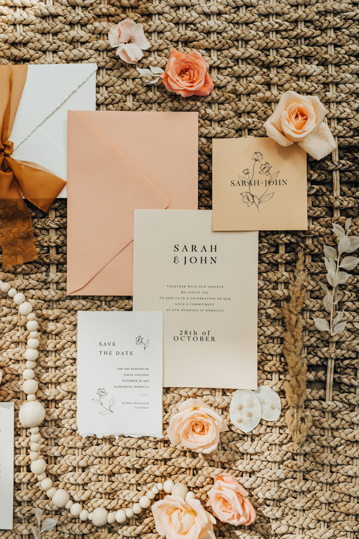 The wedding stationery suite was done in a pastel color scheme