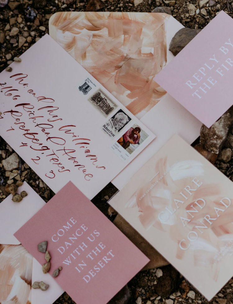 The wedding stationery was brushstroke, with bright and neutral letters