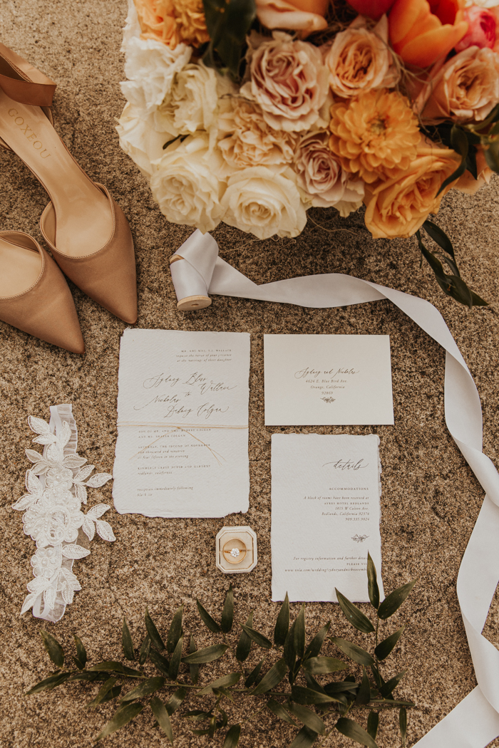 The wedding stationery was done with a raw edge and twine to match the theme
