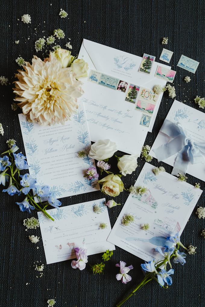The wedding stationery was done with touches of blue and botanical prints