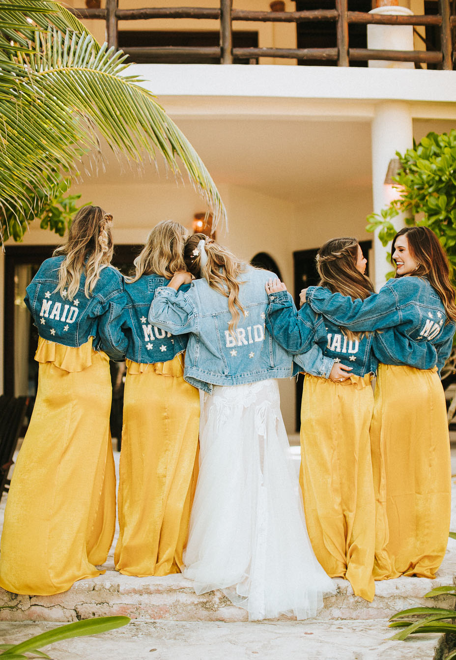 bridesmaids in denim jackets looks awesome