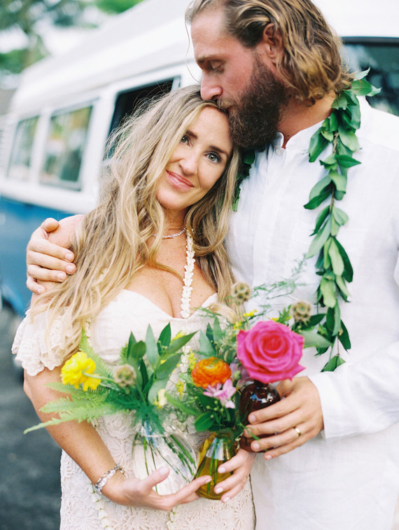 The bride was rocking waves down and some loose braids for a boho look