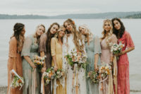 04 The bridesmaids were wearing pastel and muted color lace dresses and carrying similar bouquets