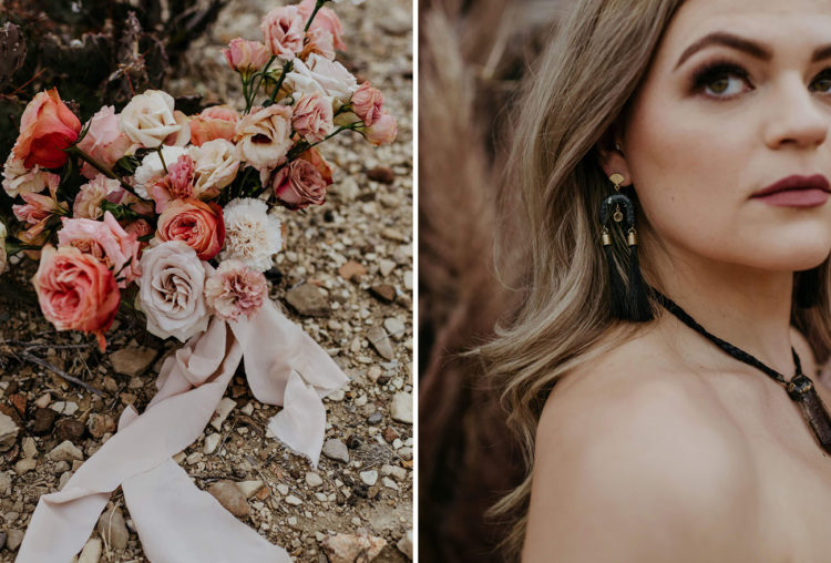 Her bouquet was done in pink and blush, and her look was finished with unique accessories